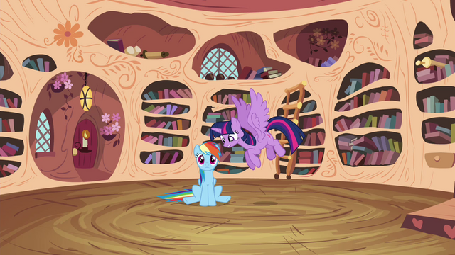 File:Twilight and Rainbow teleported into the library S4E21.png