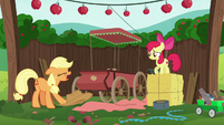 Applejack throws her hat on the ground S6E14