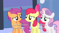 "Scootaloo tells Apple Bloom ""give it a rest"" S4E24"