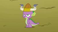 Spike wearing a Viking helmet S1E13
