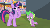 Twilight pondering on Spike's words S4E24