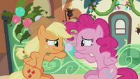 Applejack and Pinkie about to laugh S5E20