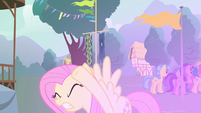 Fluttershy shielding her eyes S4E16