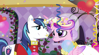 Shining Armor and Cadance looking at each other S2E26