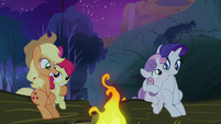 Sweetie Belle and Apple Bloom pulled close to their sisters S3E6
