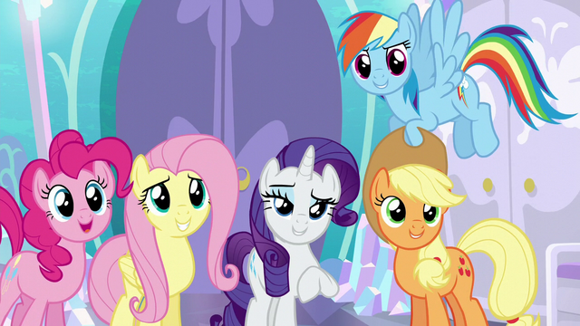 File:Main four in agreement with Rarity S6E1.png