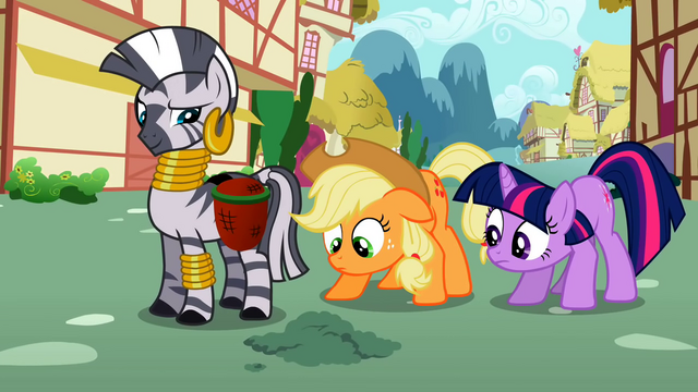 File:Applejack and Twilight look at the ground S2E06.png