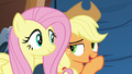 Applejack whispering to Fluttershy S6E20.png