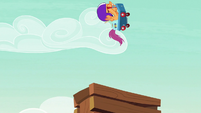 Scootaloo flies off the ramp pointed upward S7E7