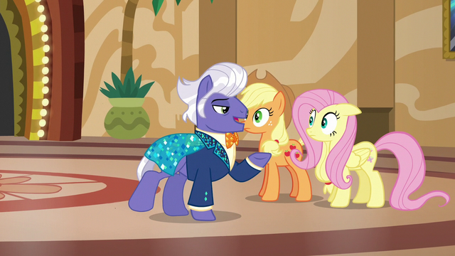File:Gladmane offers to give AJ and Fluttershy a tour S6E20.png