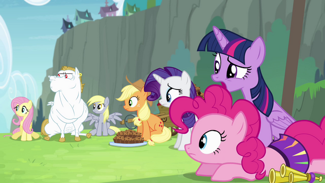 File:Mane 5 looking toward Rainbow Dash S4E10.png