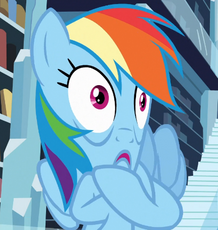 Rainbow Dash stretching her face cropped S3E01