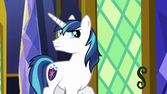 Shining Armor looking at Pinkie S5E19