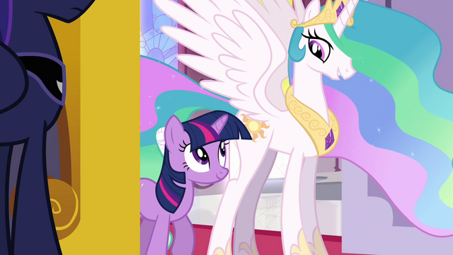 File:Princess Celestia and Twilight stops at the entrance S3E01.png