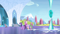 Twilight, Cadance, and Spike walk to the palace S4E24