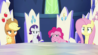 AJ, Rarity, and Fluttershy unamused; Pinkie cracks up S6E15
