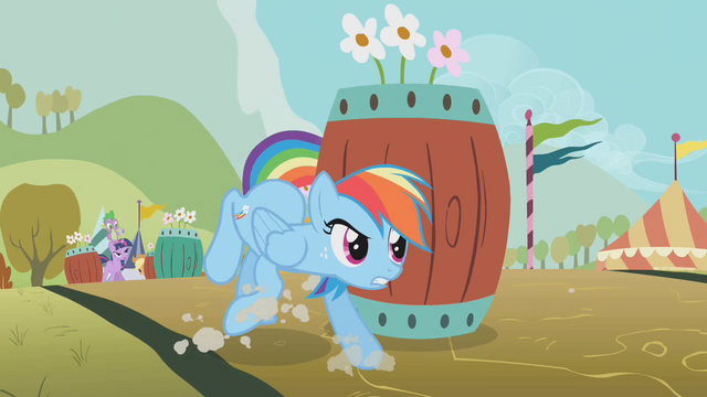File:Rainbow Dash avoiding the barrels S1E13.png