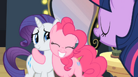 Rarity and Pinkie Pie smile hug S2E11