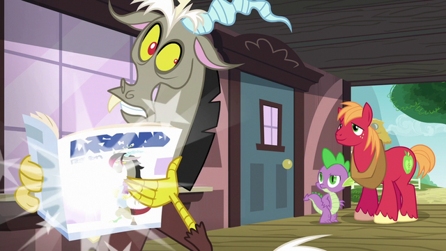 File:Discord poofs a magazine into his hands S6E17.png