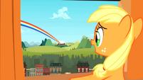 Filly Applejack sees the rainboom S01E23