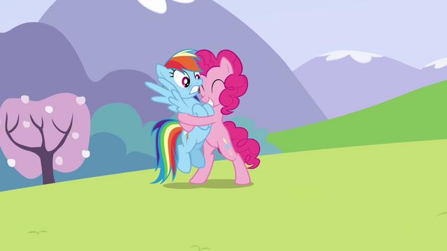 File:Pinkie Pie begins hugging Rainbow S3E7.png