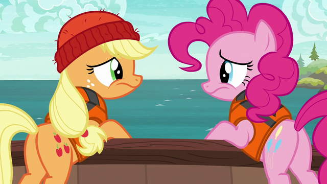 File:Pinkie and AJ looking at each other disappointed S6E22.png