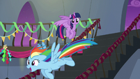 Rainbow flying excitedly down the stairs S6E7