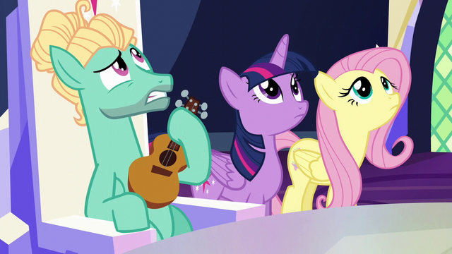 File:Twilight, Fluttershy, and Zephyr hear Spike above S6E11.png