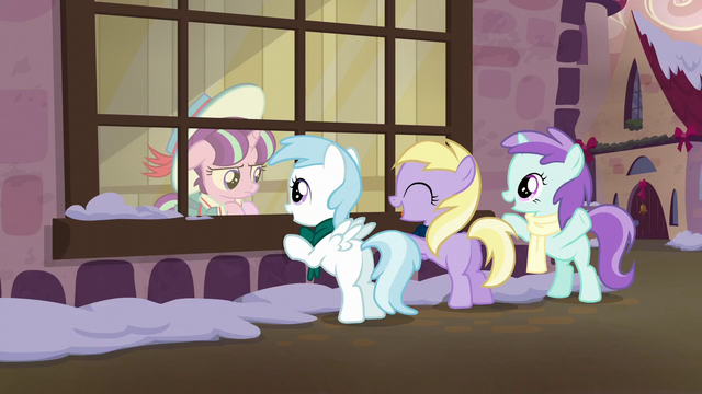 File:Young Snowfall's friends wave to her S6E8.png