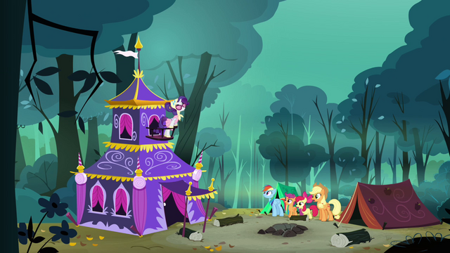 File:Applejack, Rainbow Dash, Scootaloo and Apple Bloom sees Rarity's tent S3E06.png