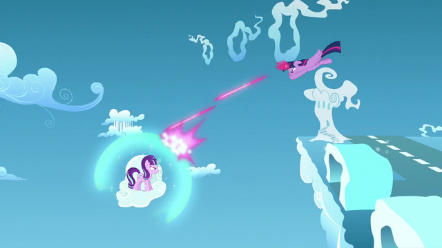 File:Twilight shoots magic beams which hits Starlight's bubble shield S5E26.png