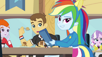 Rainbow Dash slamming her tray EG