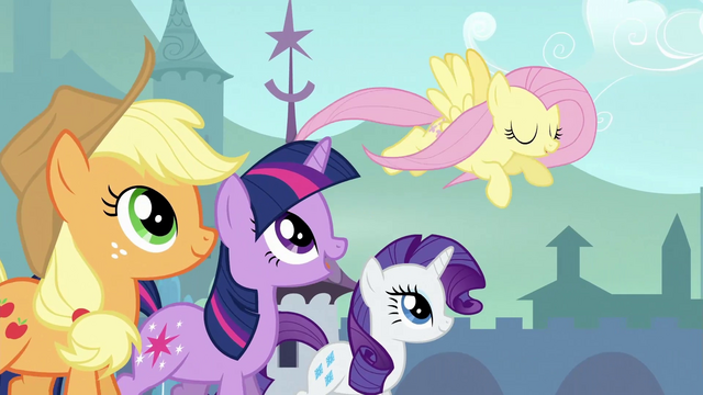 File:Twilight, Applejack and Rarity trotting with Fluttershy S3E2.png