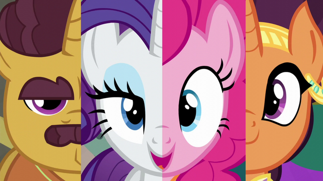 File:Coriander Cumin, Rarity, Pinkie Pie, Saffron Masala split screen S6E12.png