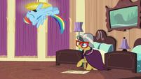 Rainbow Dash flips through the air S6E13