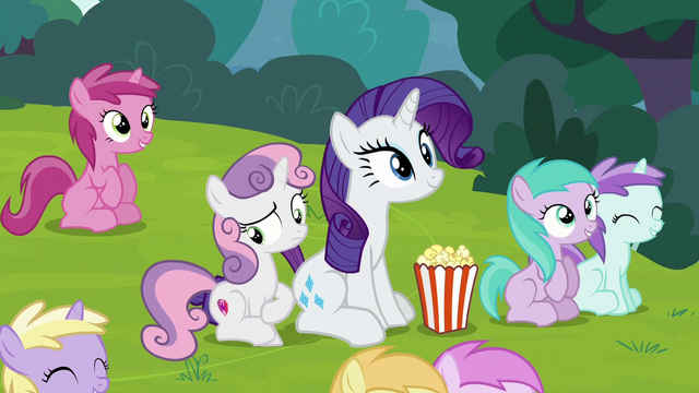 File:Sweetie Belle sitting bored next to Rarity S7E6.png