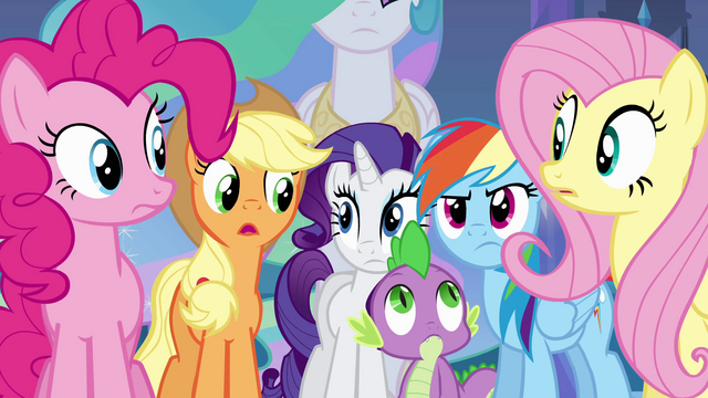 File:Twilight's friends and Spike looking concerned EG.png
