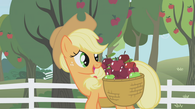 File:Applejack talks to Twilight as she carries apples S1E03.png