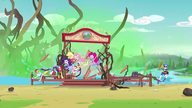 File:Equestria Girls jumping off the camp dock EG4.png