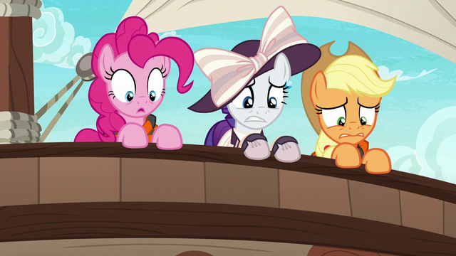 File:Pinkie, Rarity, and AJ looking overboard S6E22.png