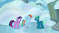 Twilight and Rainbow speak with Sky Stinger S6E24.png