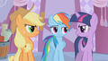 Applejack and Twilight look at Rainbow Dash in disapproval S1E14.png