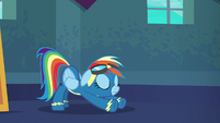 Rainbow Dash stretching her hooves S6E7