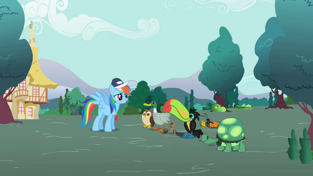 File:Rainbow Dash with the animals 2 S2E07.png
