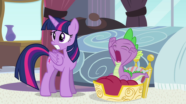 File:Worried Princess Twilight and yawning Spike S4E01.png