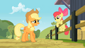 Apple Bloom on a fencing while talking to Applejack S2E14.png