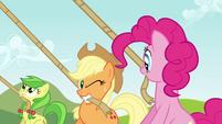 Applejack winking at Pinkie S3E3