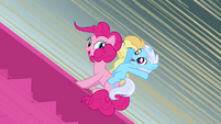 Pinkie Pie sliding with Noi and Bloo S2E18
