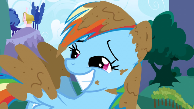 File:Rainbow Dash covered in mud S1E1.png