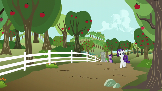 File:Rarity, Twilight, and Spike approach the farm S6E10.png